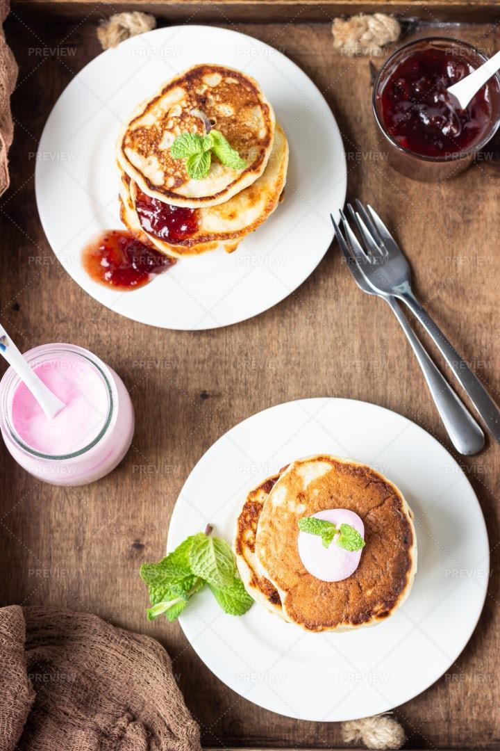 Pancakes And Jam: Stock Photos
