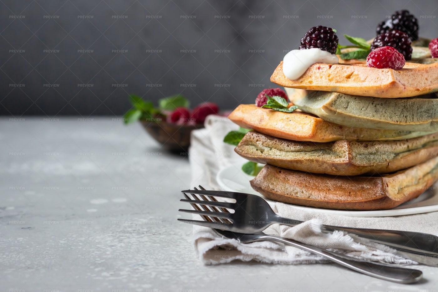 Stack Of Belgian Waffles: Stock Photos