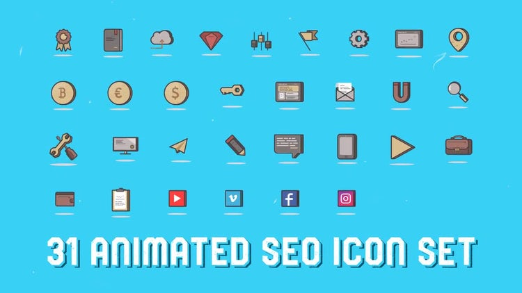 31 SEO 3D Icons: After Effects Templates