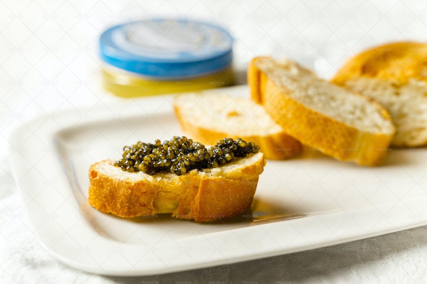 Black Caviar On Toast: Stock Photos