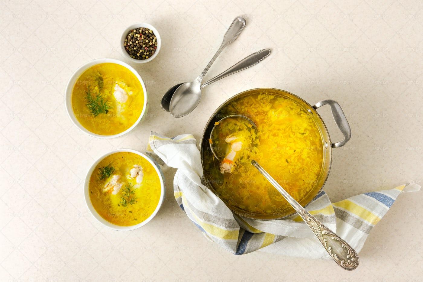 Homemade Pasta Chicken Soup: Stock Photos