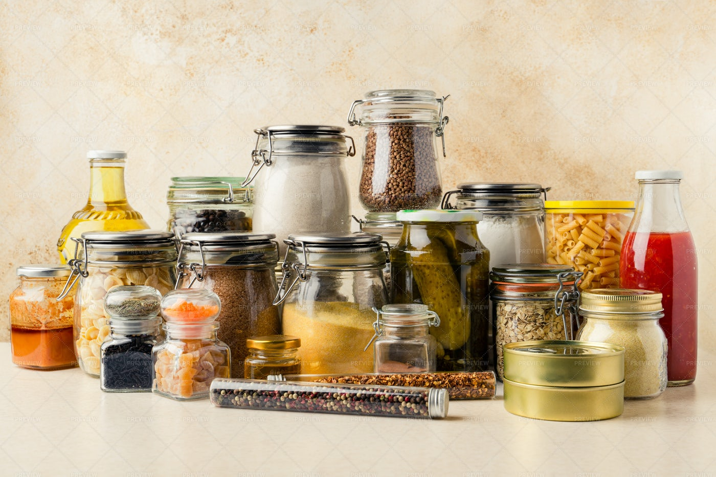 Collection Of Food Supplies: Stock Photos
