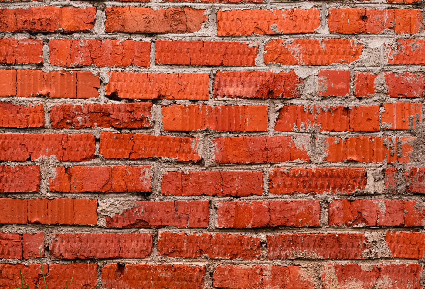 Uneven Red Brick Wall: Stock Photos