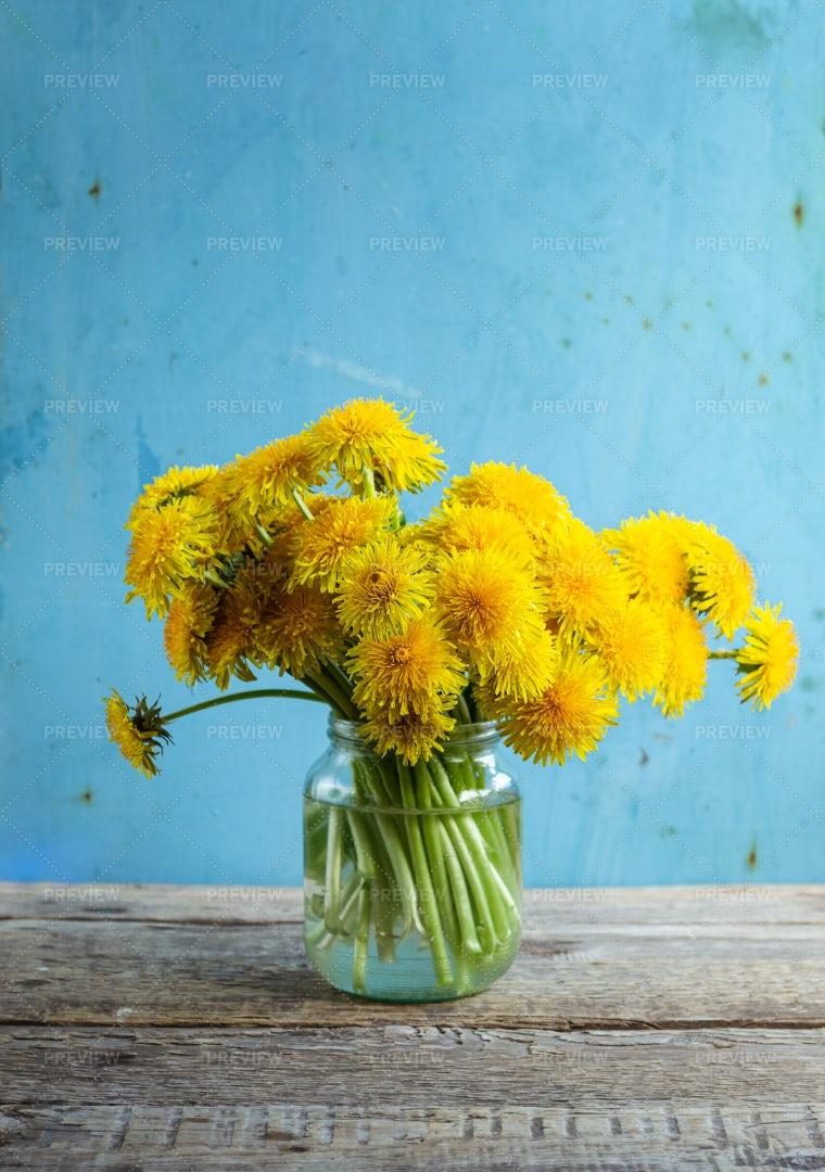 Dandelions In A Jar: Stock Photos