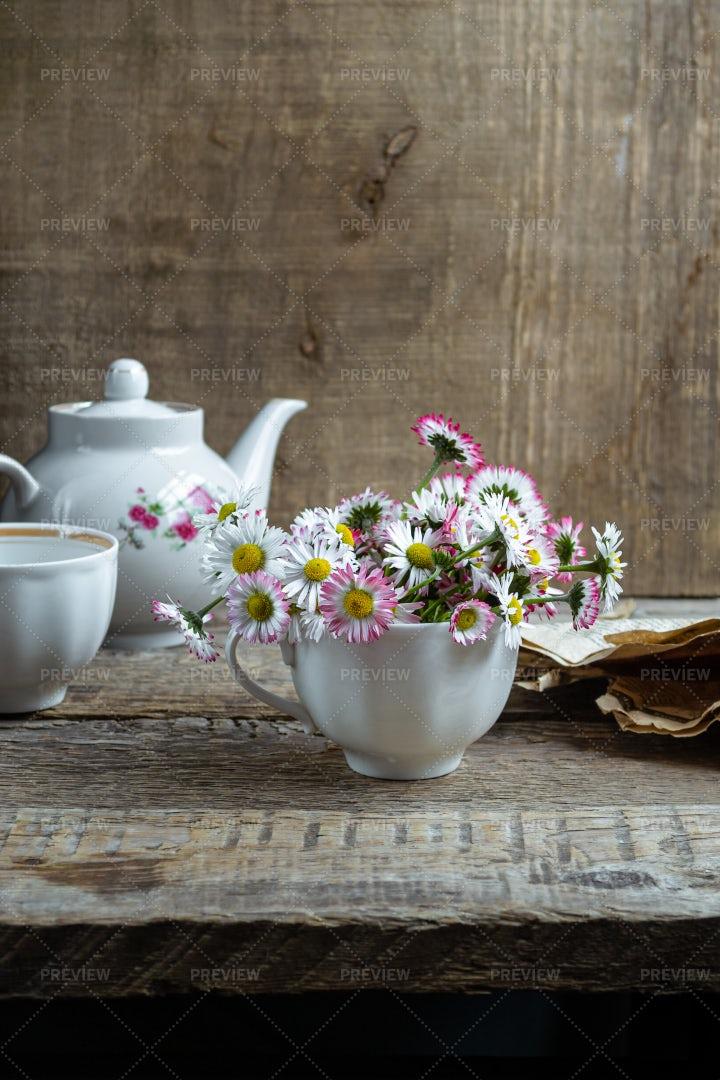 Daisies In A Tea Cup: Stock Photos