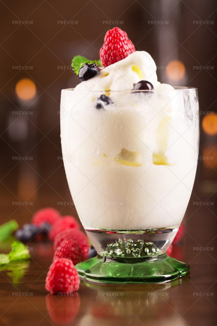 Ice Cream With Berries: Stock Photos