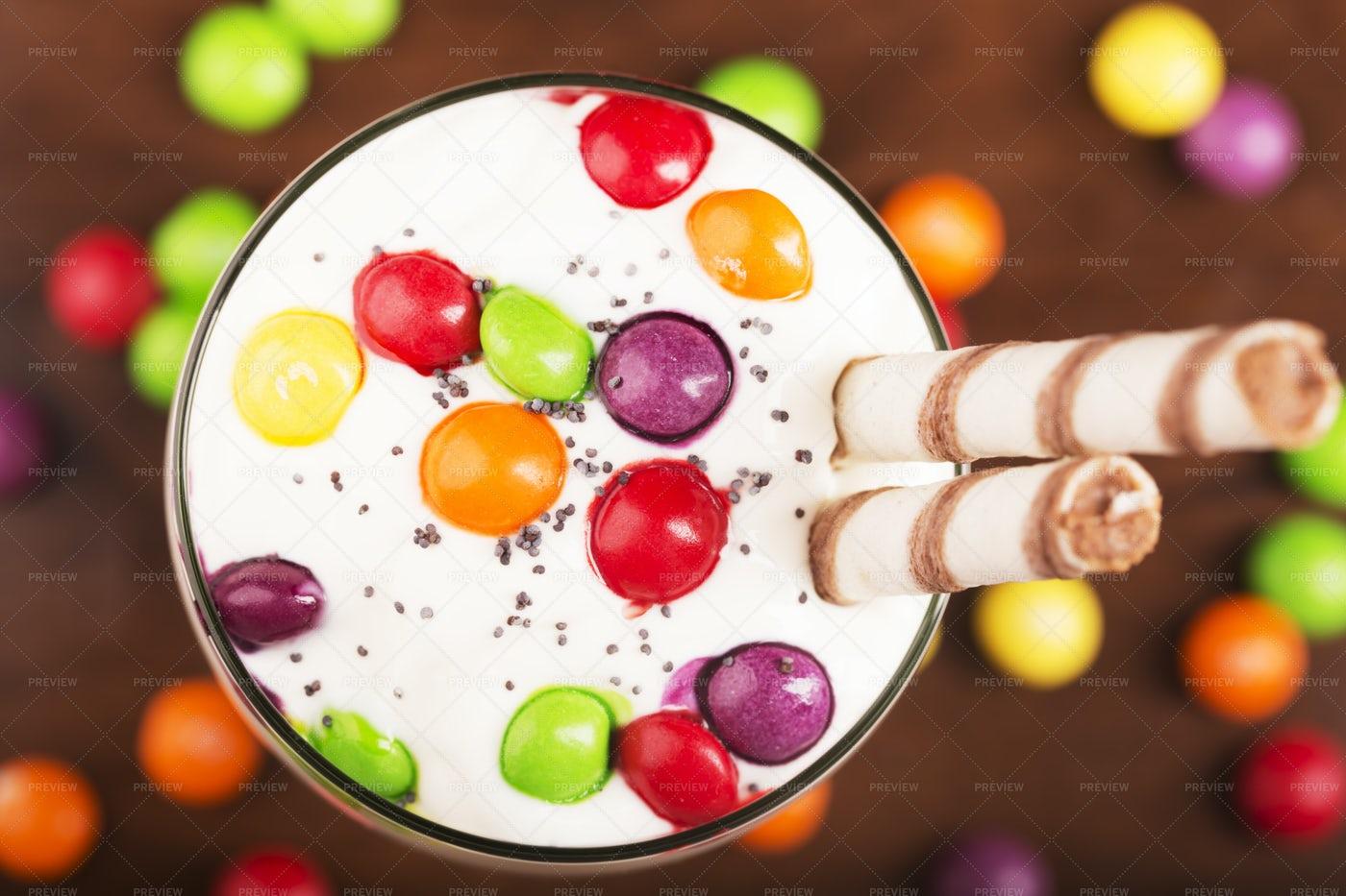 Milkshake With Candy: Stock Photos