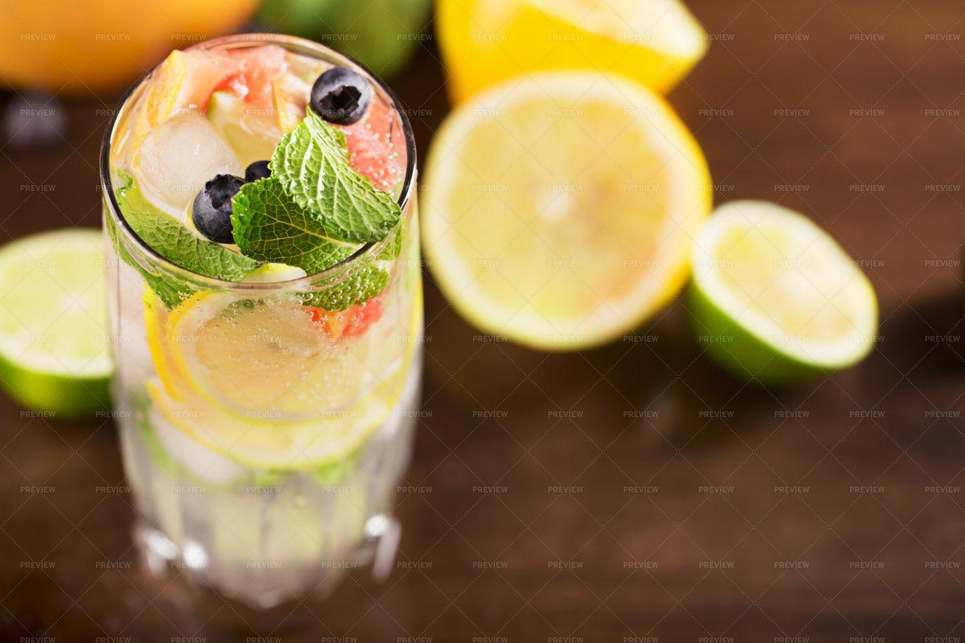 Mint And Grapefruit Cocktail: Stock Photos