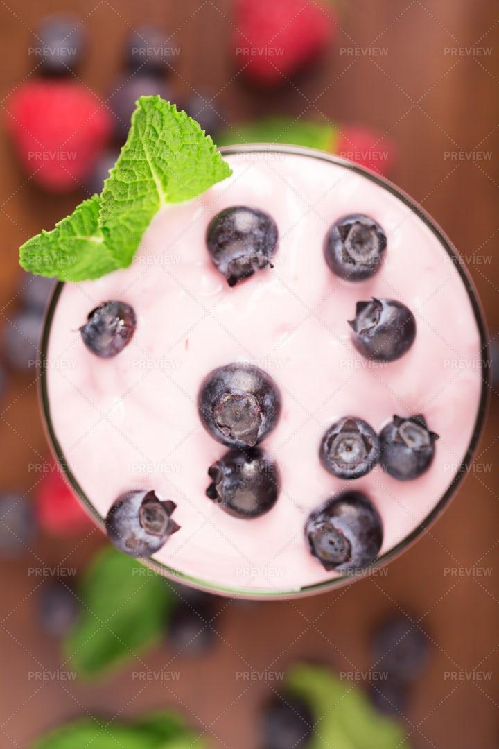 Yogurt With Blueberries: Stock Photos