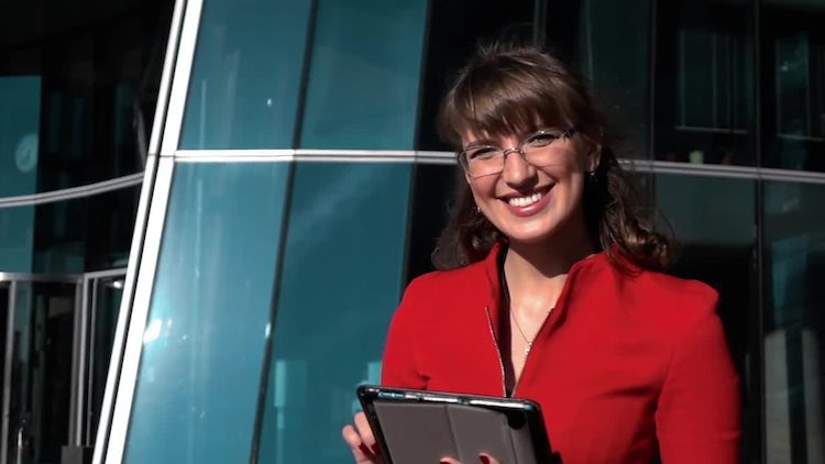 Business Woman Holding A Tablet: Stock Video