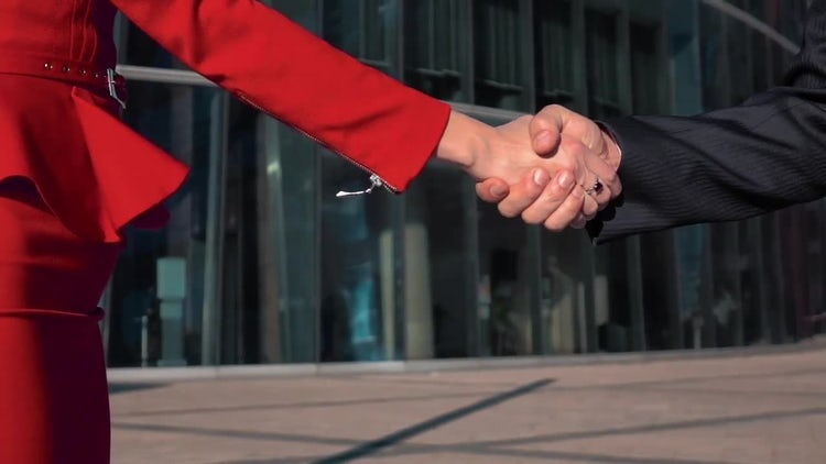 Woman And Man Shake Hands : Stock Video
