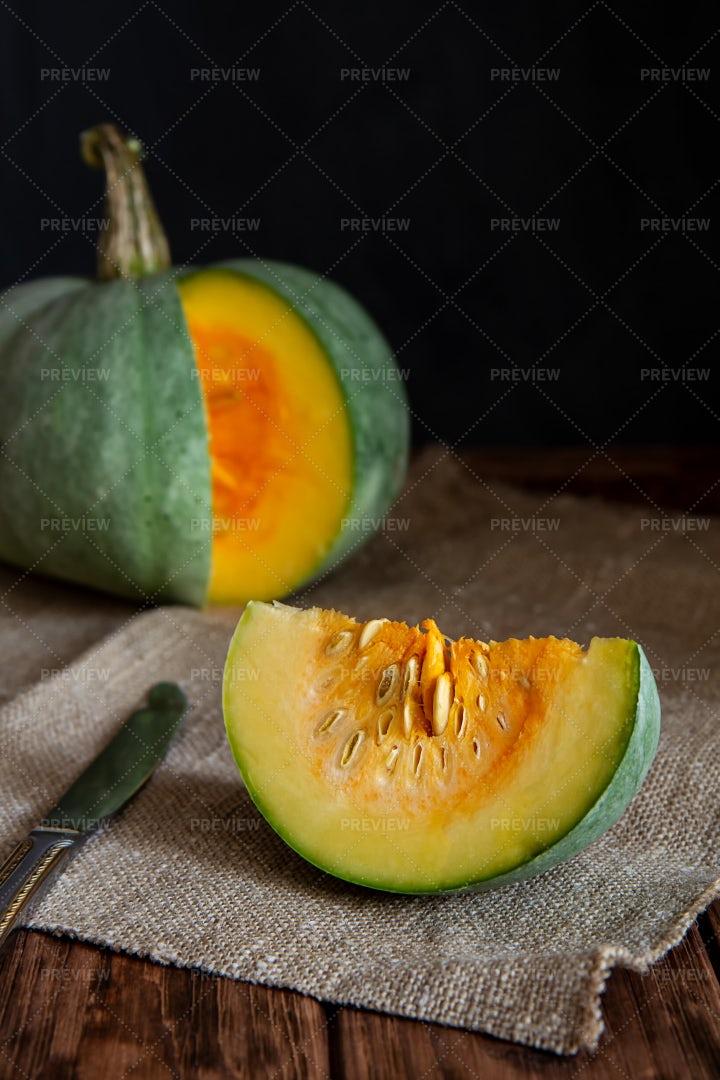 A Sliced Pumpkin: Stock Photos