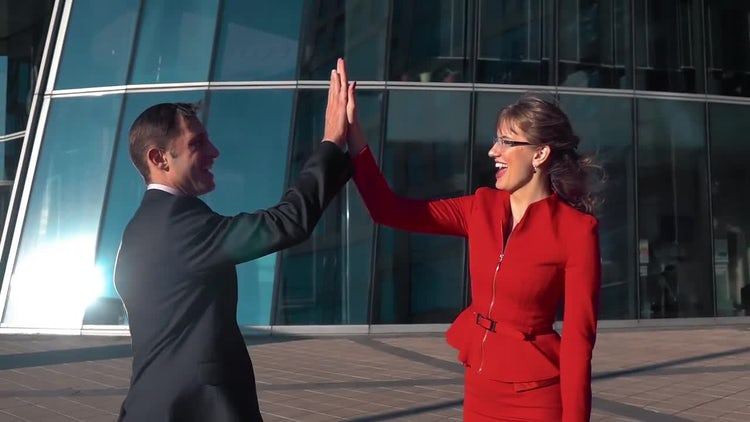 Business People High Five Outdoors: Stock Video