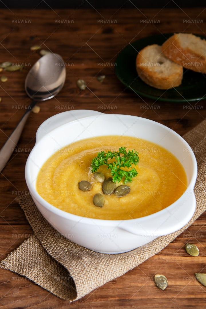 Pumpkin Soup With Croutons: Stock Photos