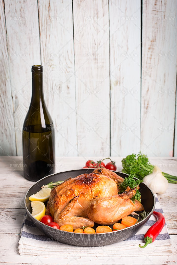 Wine And Roasted Chicken: Stock Photos