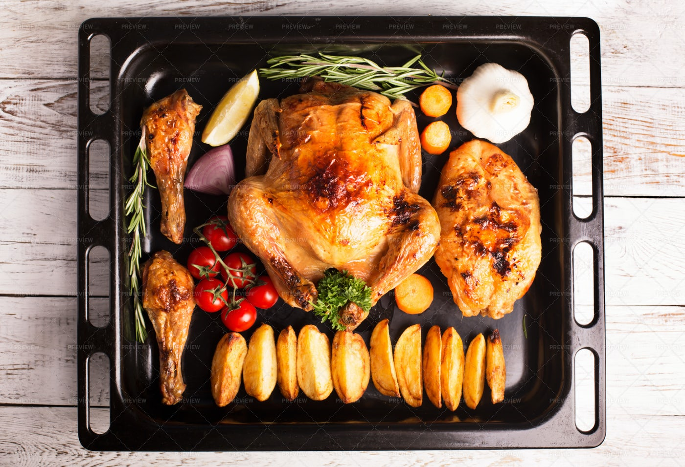 Roasted Chicken And Greens: Stock Photos