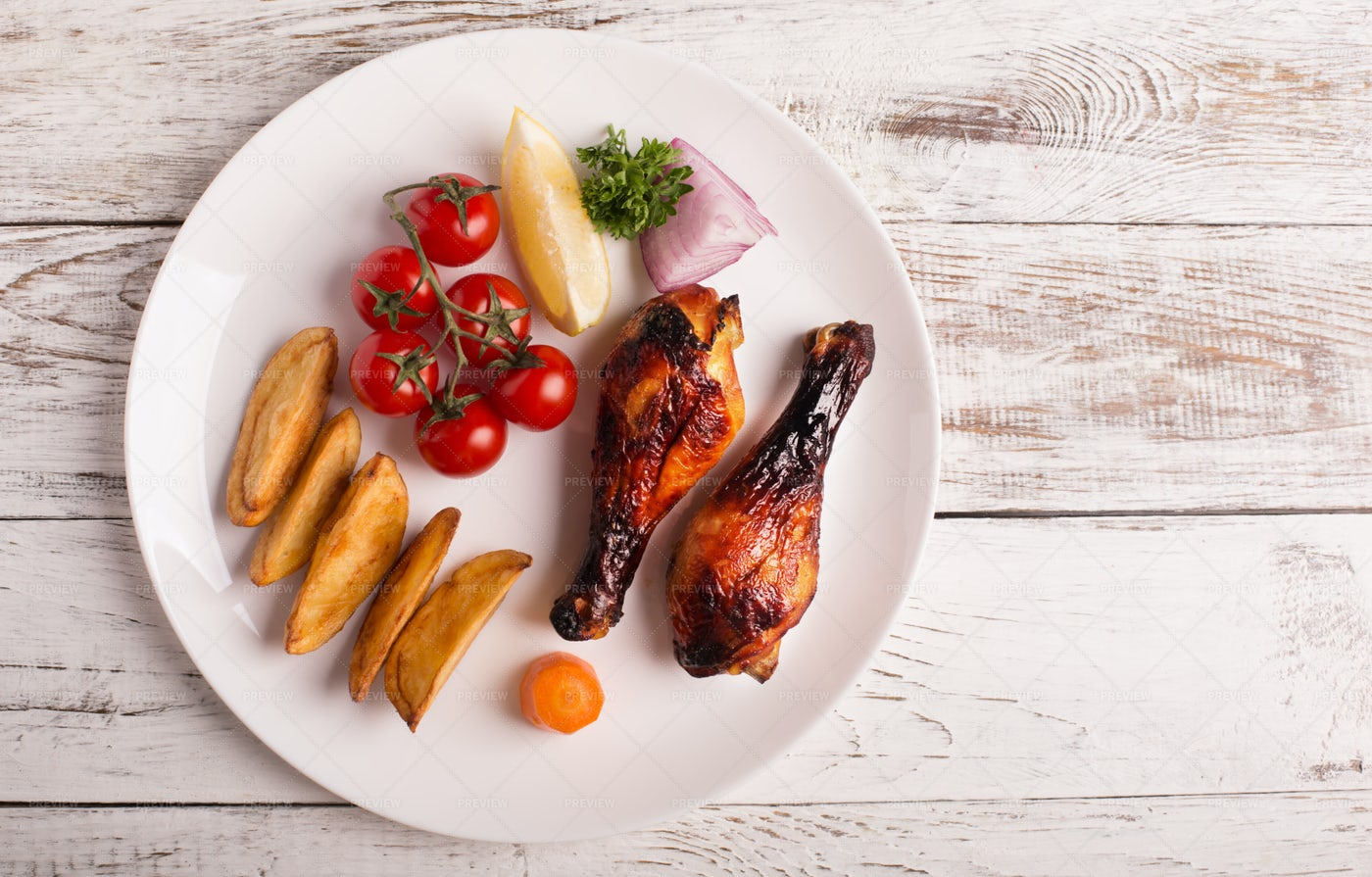 Grilled Chicken Meal: Stock Photos