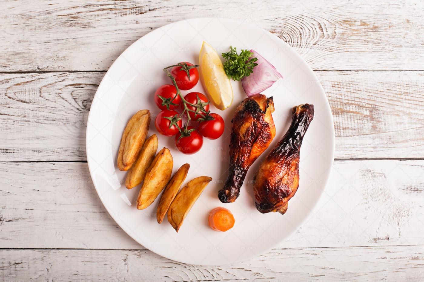 Chicken Shins Plate: Stock Photos