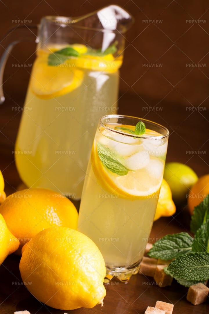 Fresh Lemonade With Mint: Stock Photos
