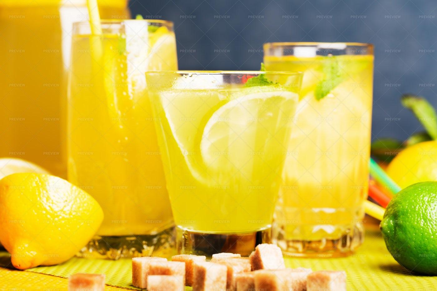 Glasses Of Fresh Lemonade: Stock Photos