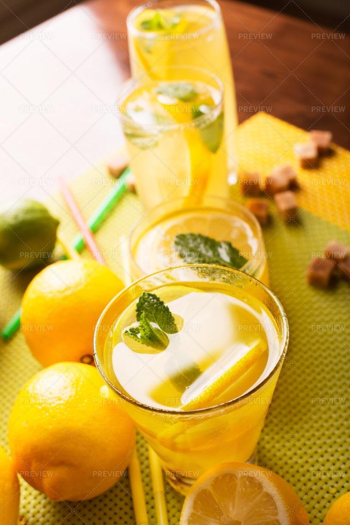 Glasses Of Homemade Lemonade: Stock Photos