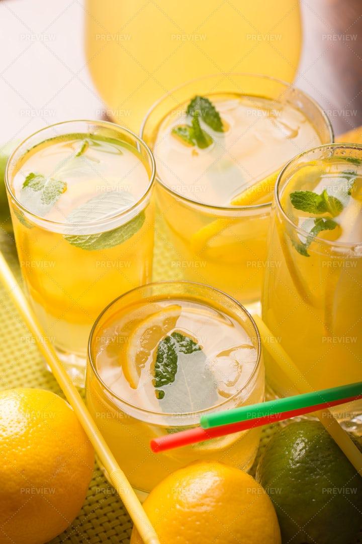 Fresh Lemonade In Glasses: Stock Photos