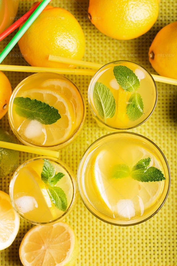 Glasses Of Lemonade With Ice: Stock Photos