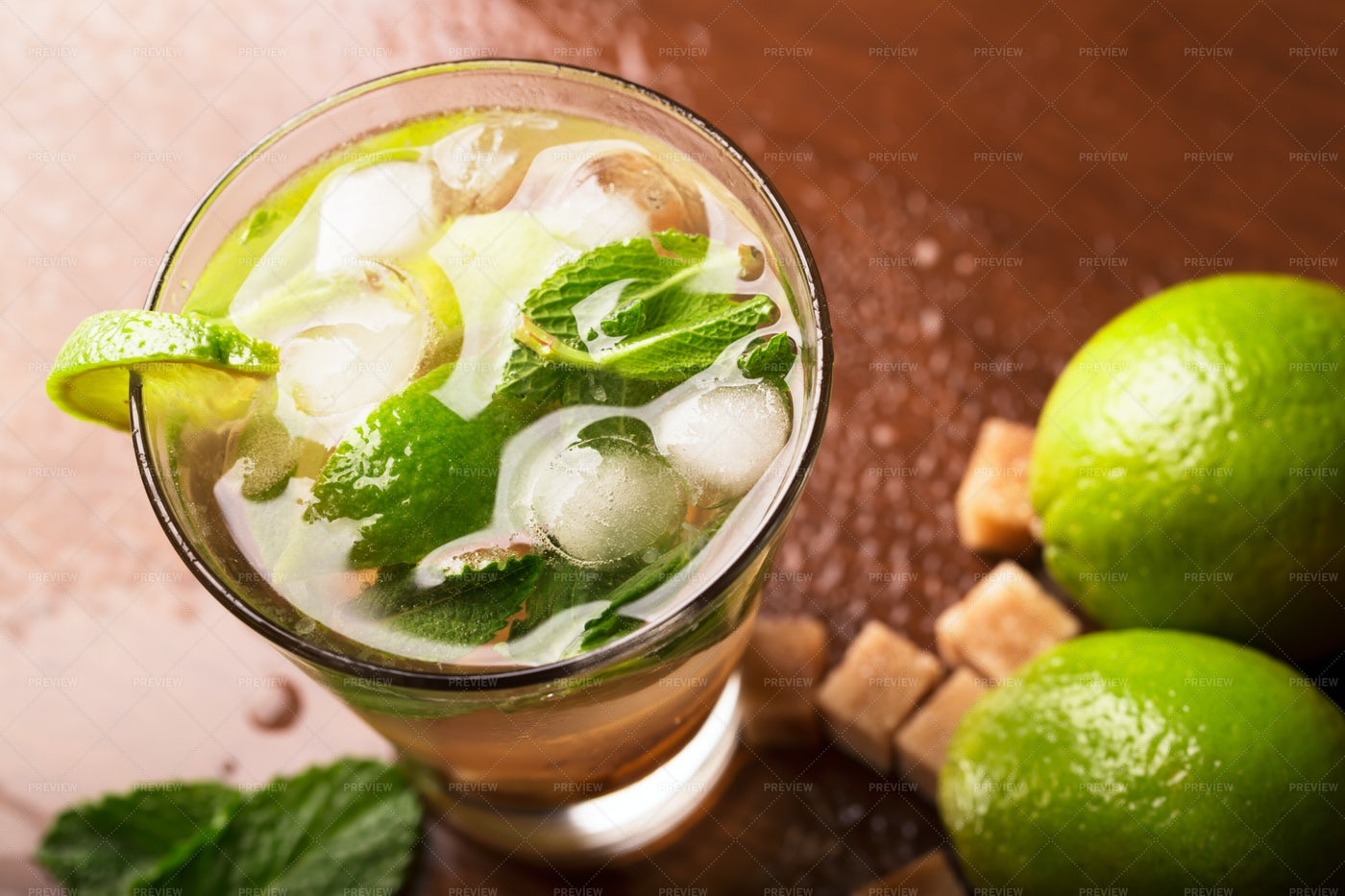 Mojito Cocktail And Lime: Stock Photos