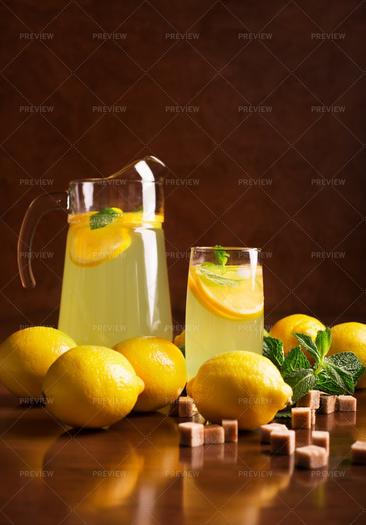 Fresh Lemonade Jar And Glass: Stock Photos