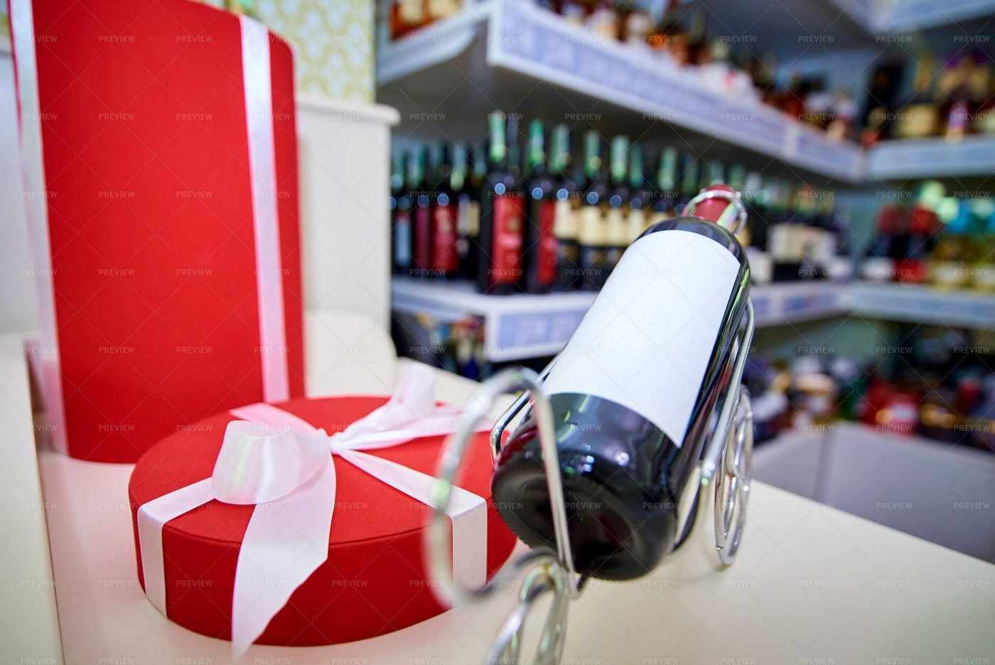 Gift Box And Wine: Stock Photos
