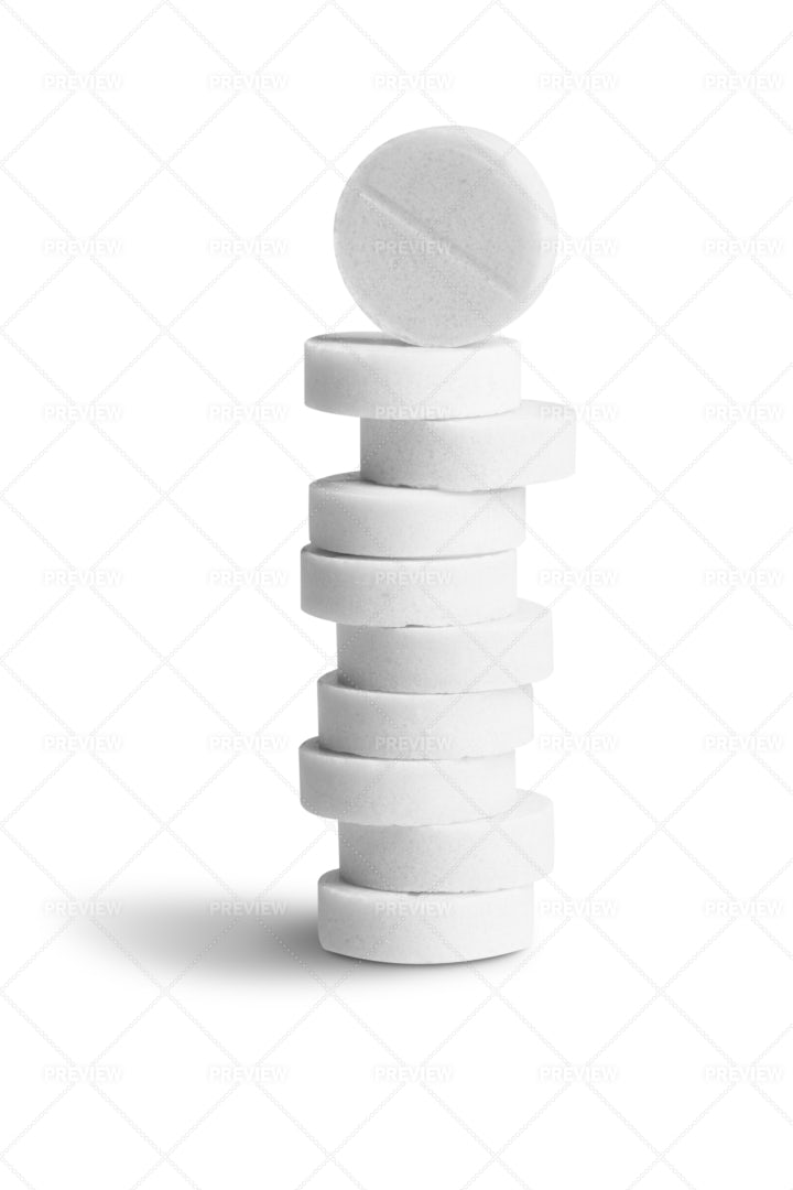 Pile Of White Pills: Stock Photos