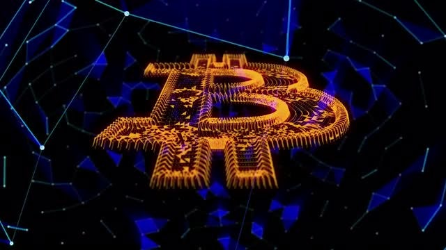 Bitcoin Cryptocurrency Background: Stock Motion Graphics