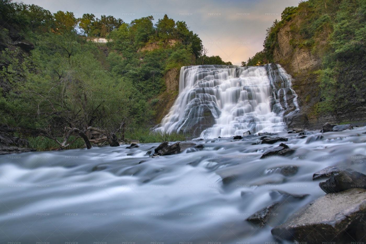 Waterfall At Dusk: Stock Photos