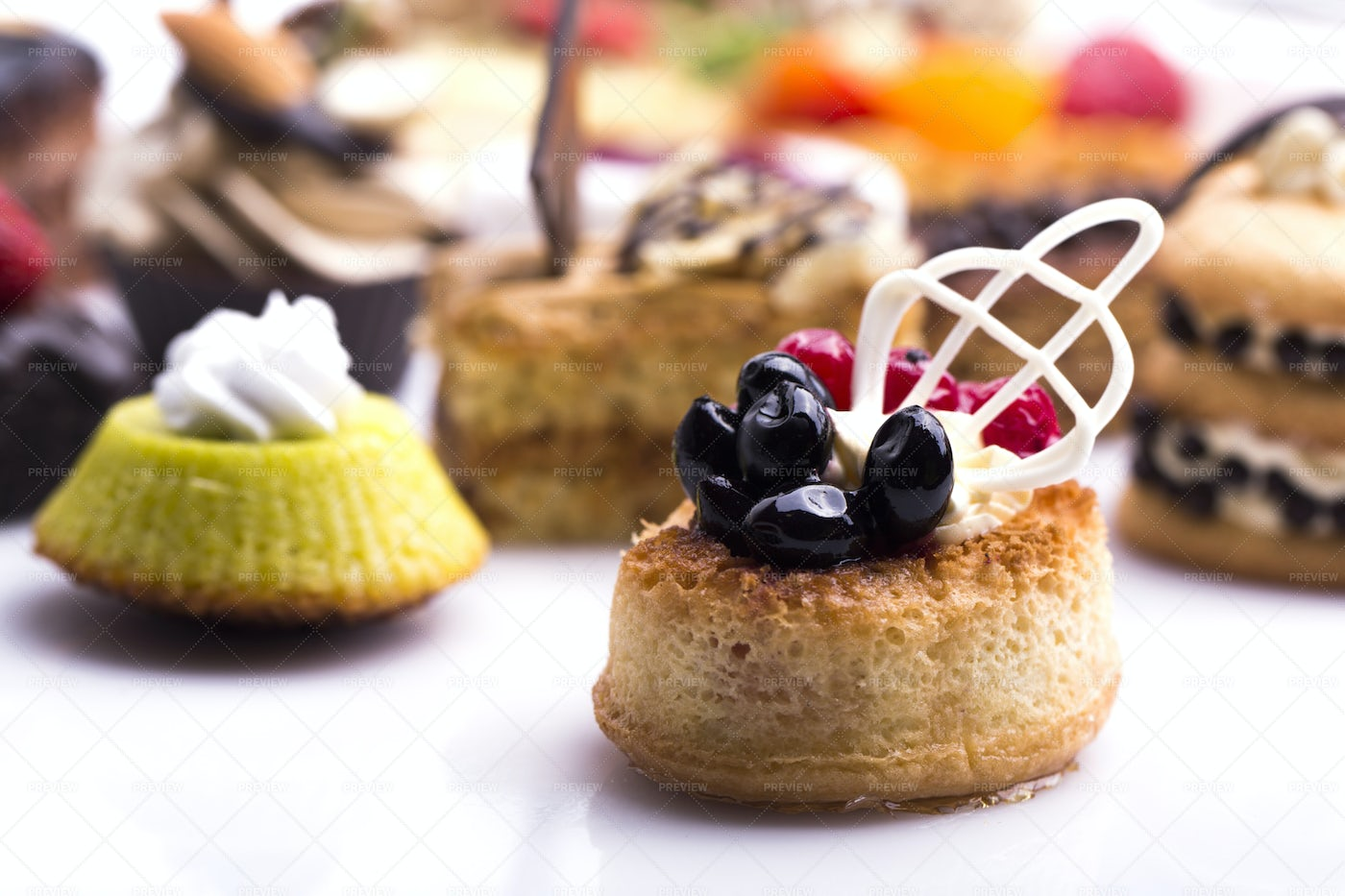 Sweet Decorated Canapes: Stock Photos