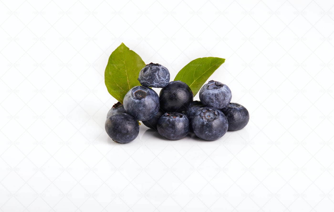 Blueberries And Green Leaves: Stock Photos