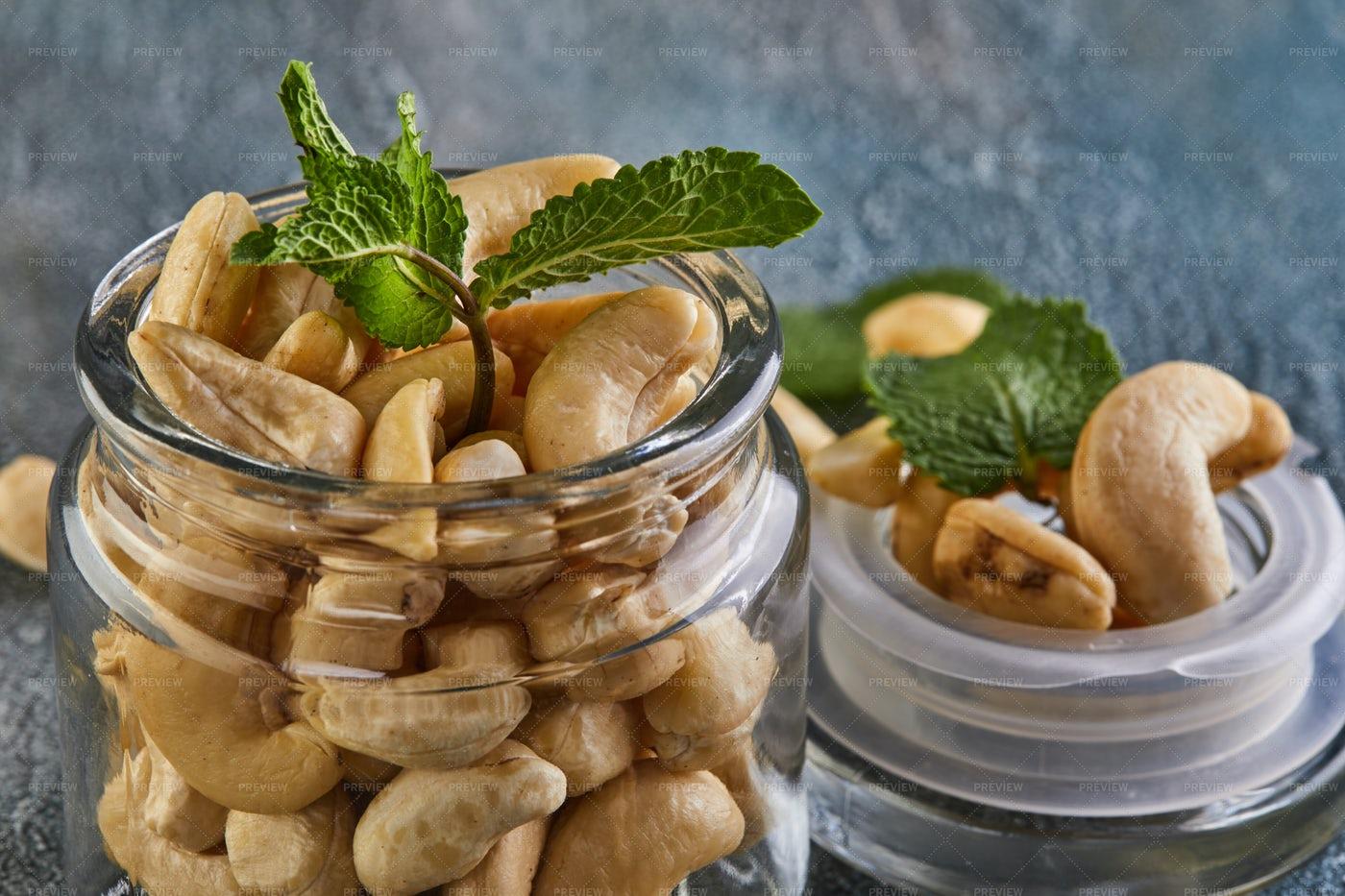 Cashew In A Transparent Jar: Stock Photos