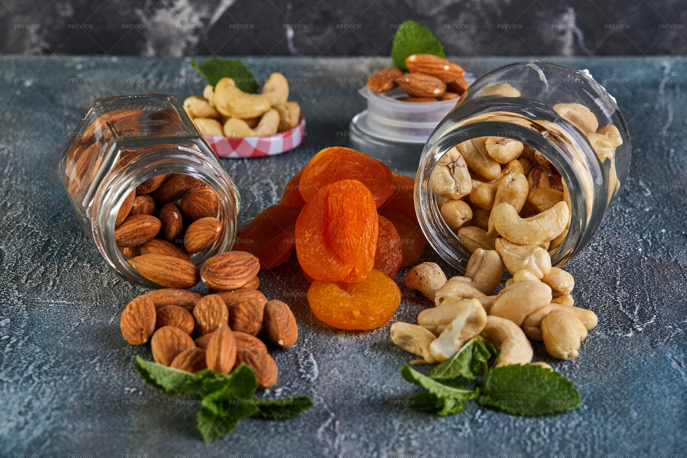 Cashews, Almonds And Apricots: Stock Photos