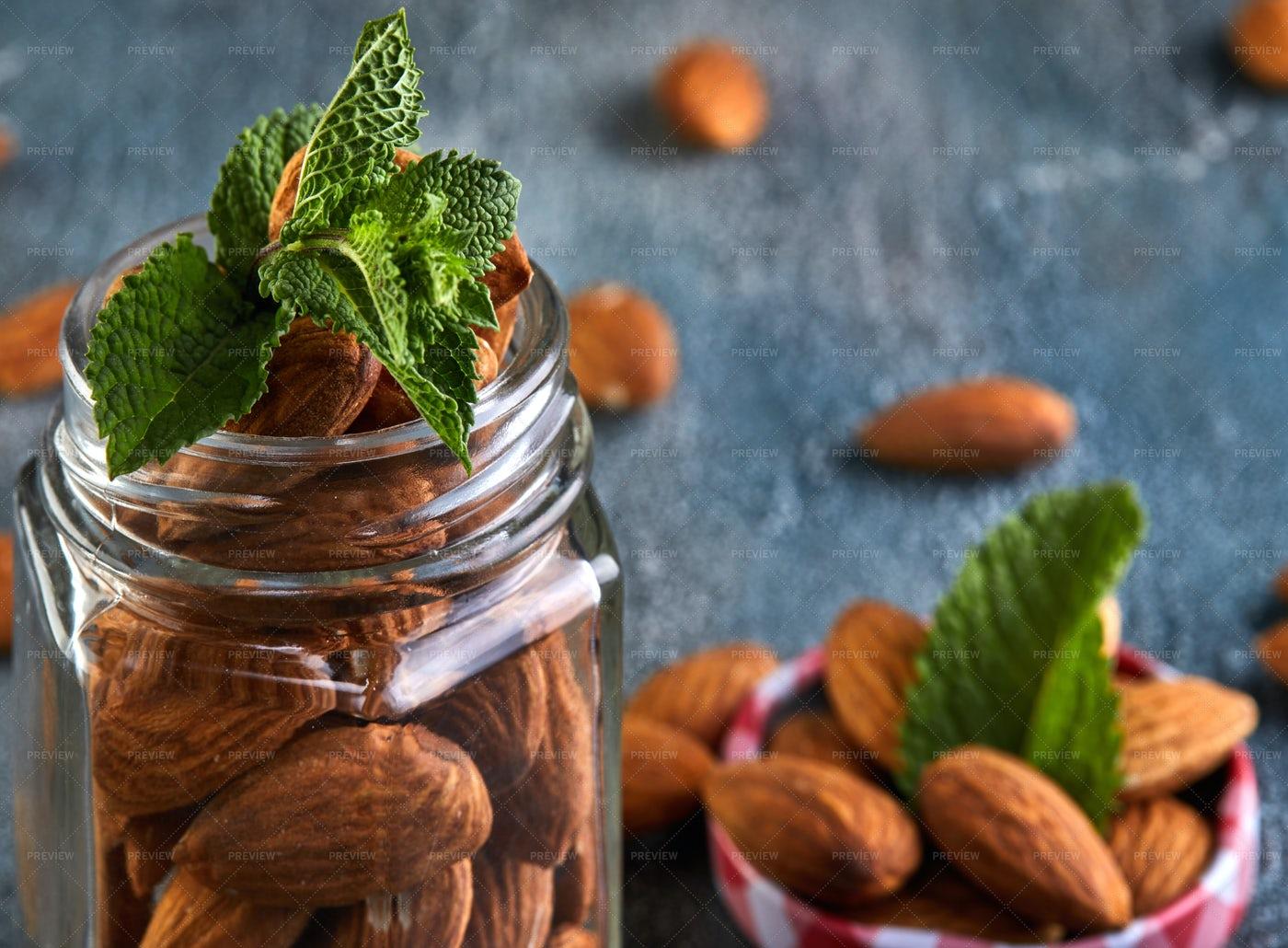 A Jar Of Almonds: Stock Photos