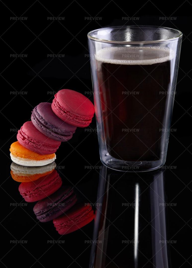 Macarons Beside A Coffee: Stock Photos