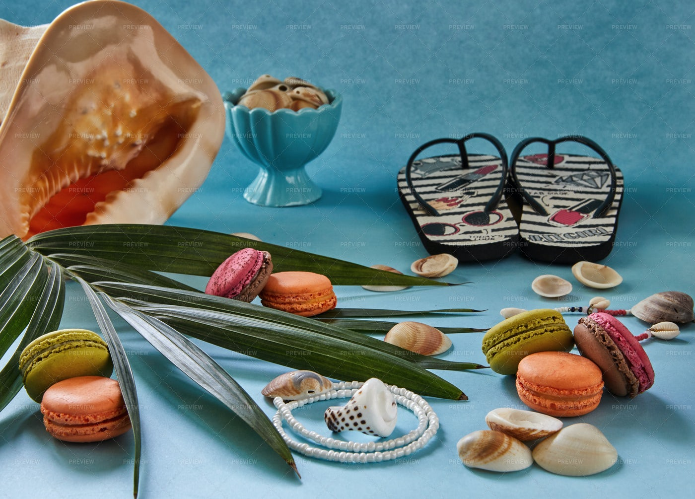 Beach Accessories And Snacks: Stock Photos