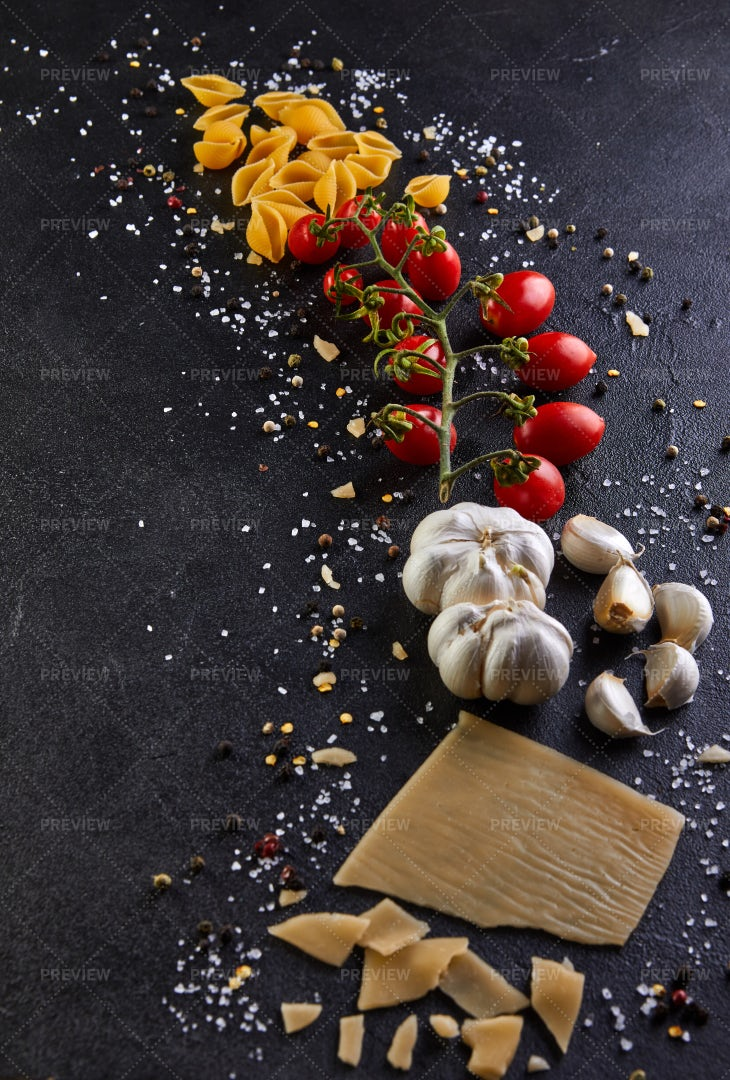Spread Out Pasta Ingredients: Stock Photos