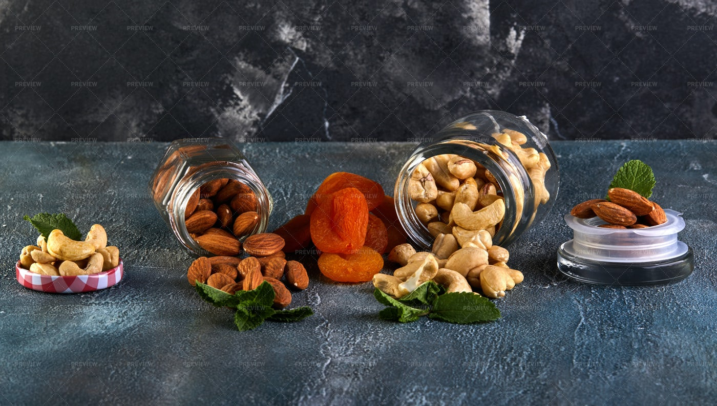 Cashew And Almonds Spill Out: Stock Photos