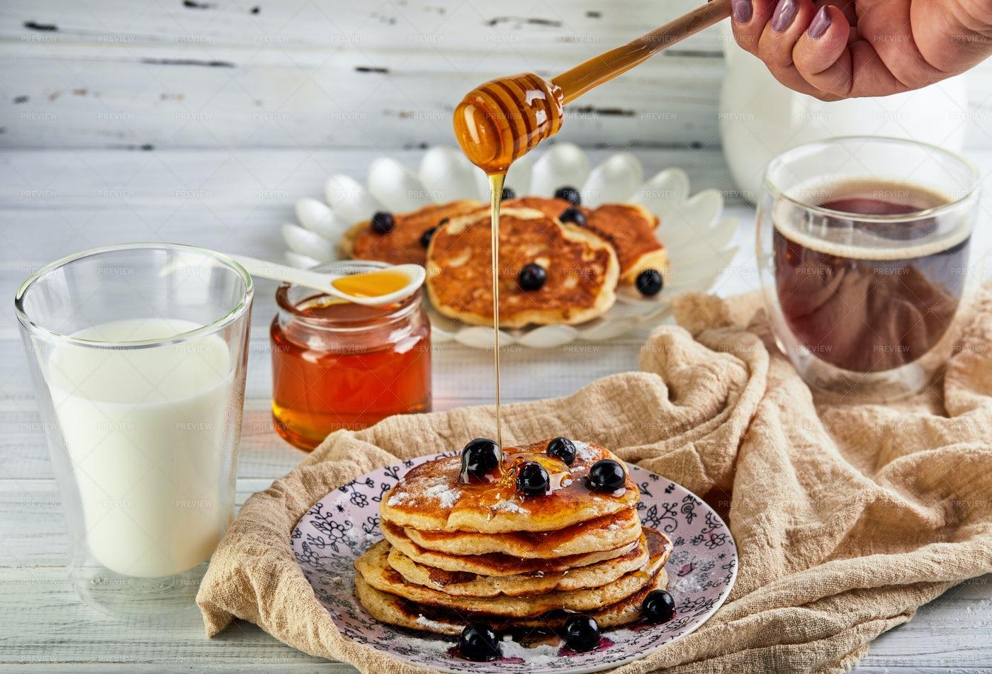 Honey On The Pancakes: Stock Photos