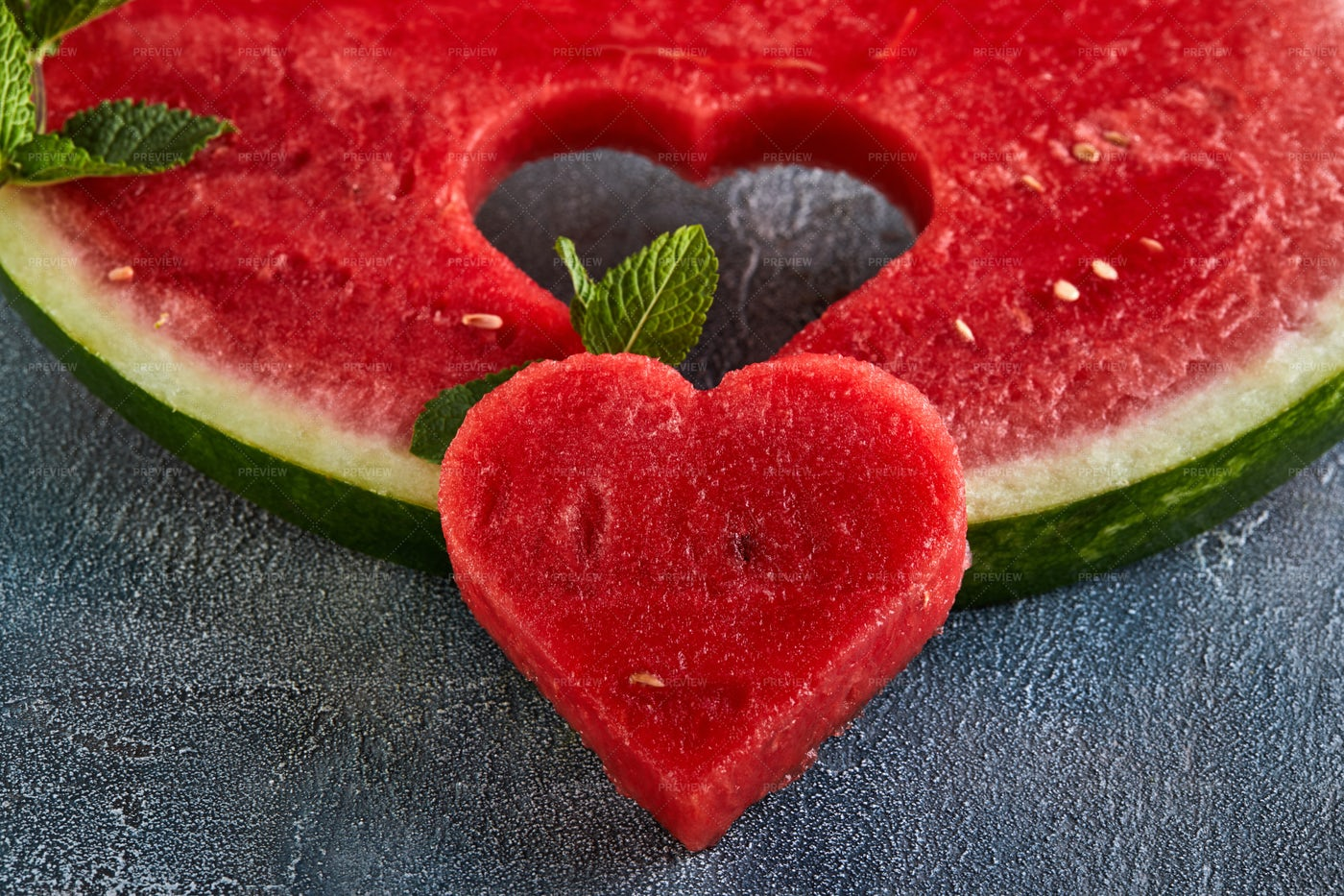 Heart Watermelon Carving: Stock Photos