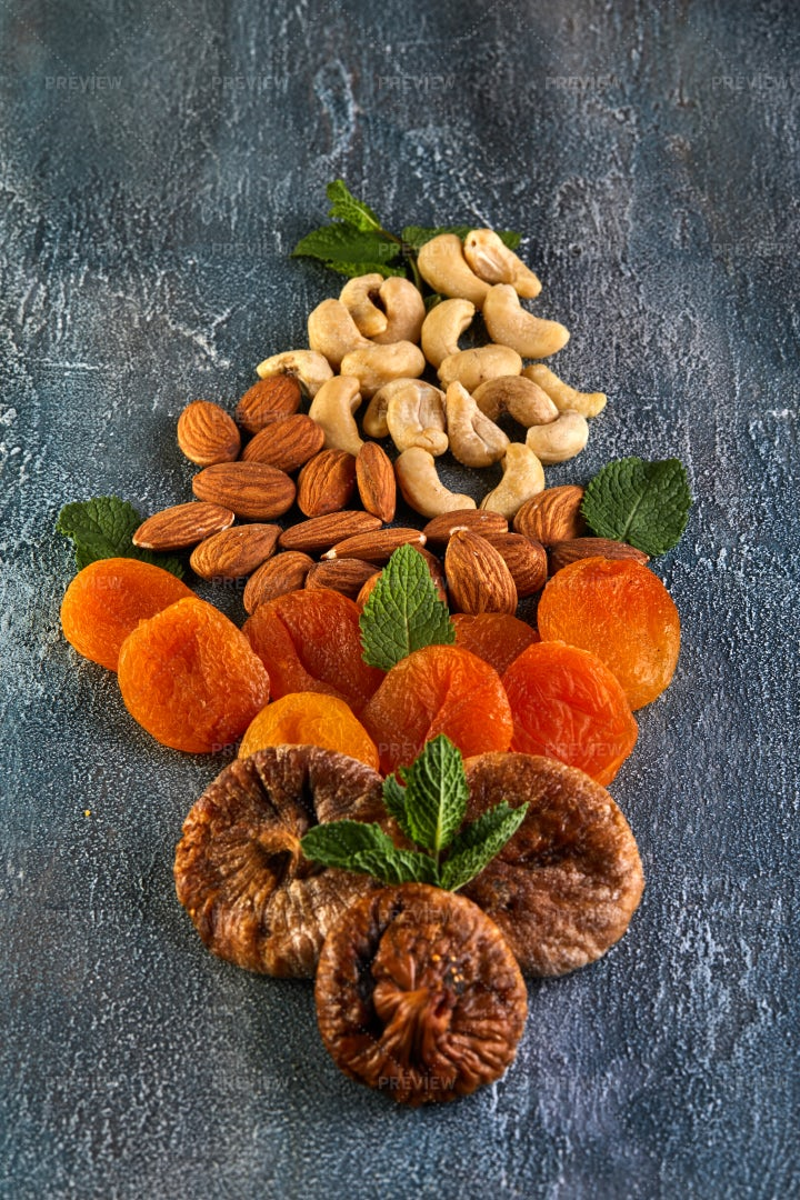 Dried Nuts And Fruits: Stock Photos