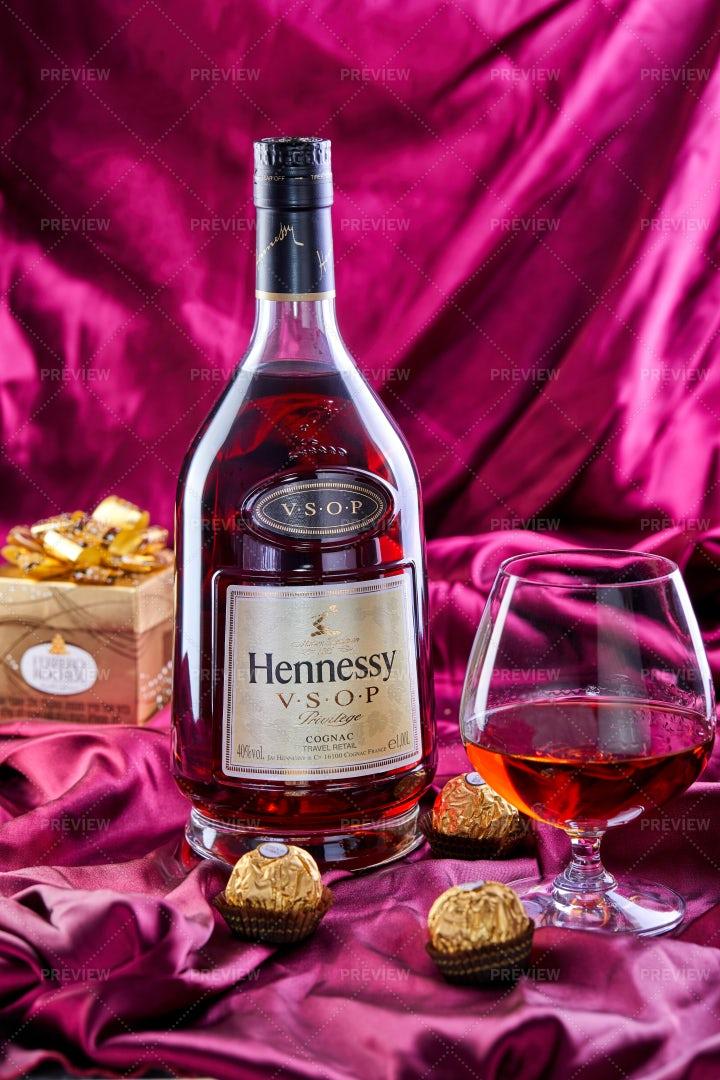 Cognac And Chocolates: Stock Photos