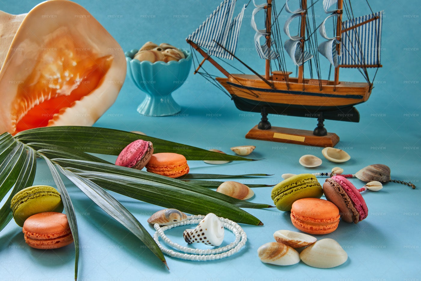 Sweets And Beach Items: Stock Photos