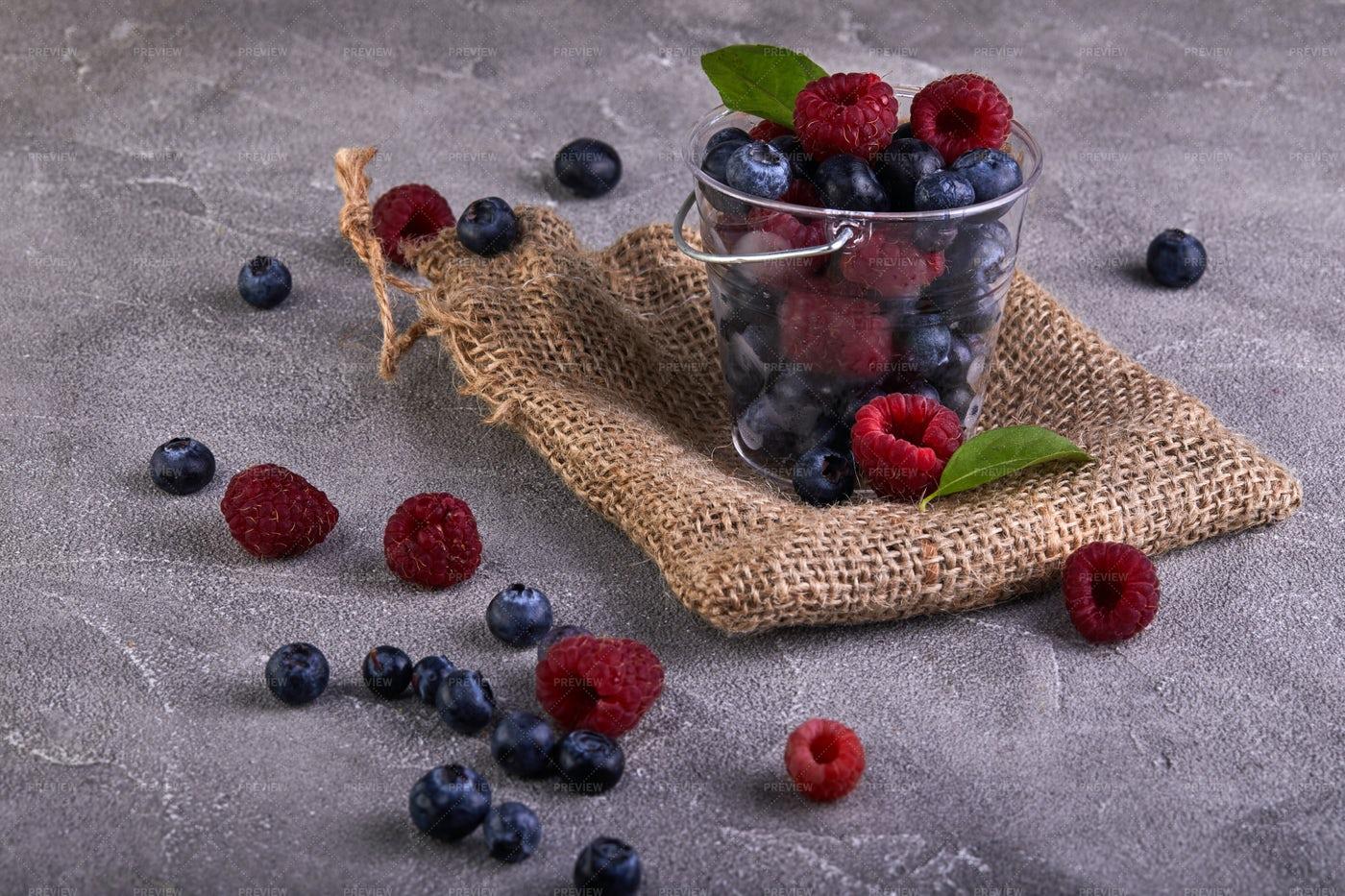 Berries In A Bucket: Stock Photos
