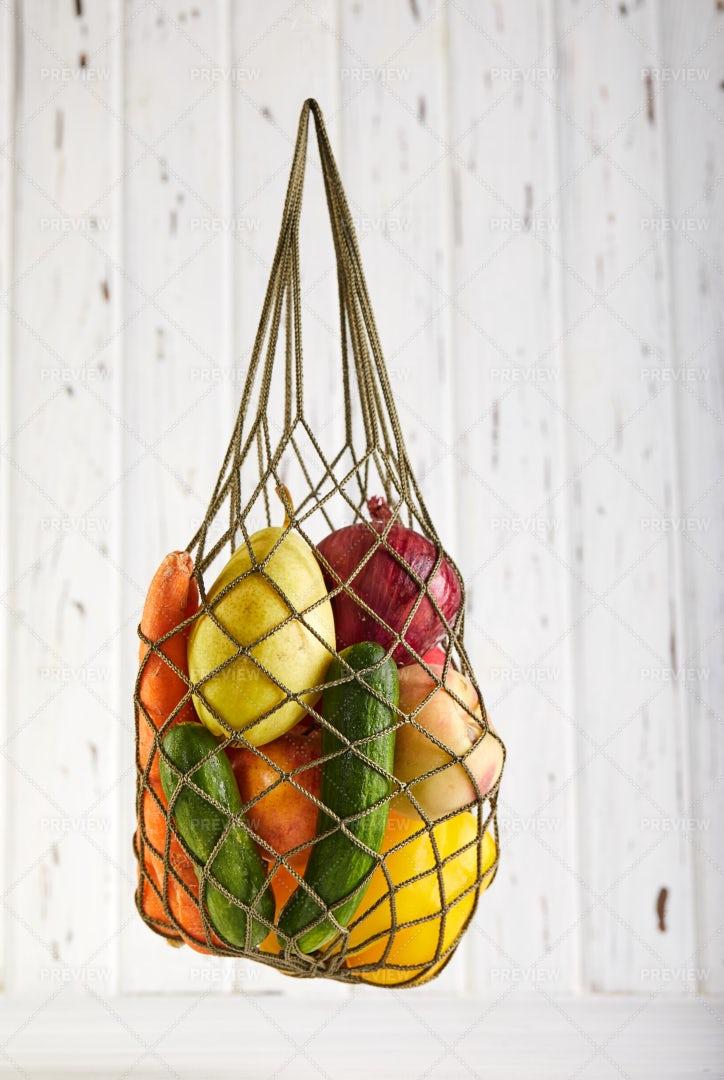 Mesh Bag Of Groceries: Stock Photos