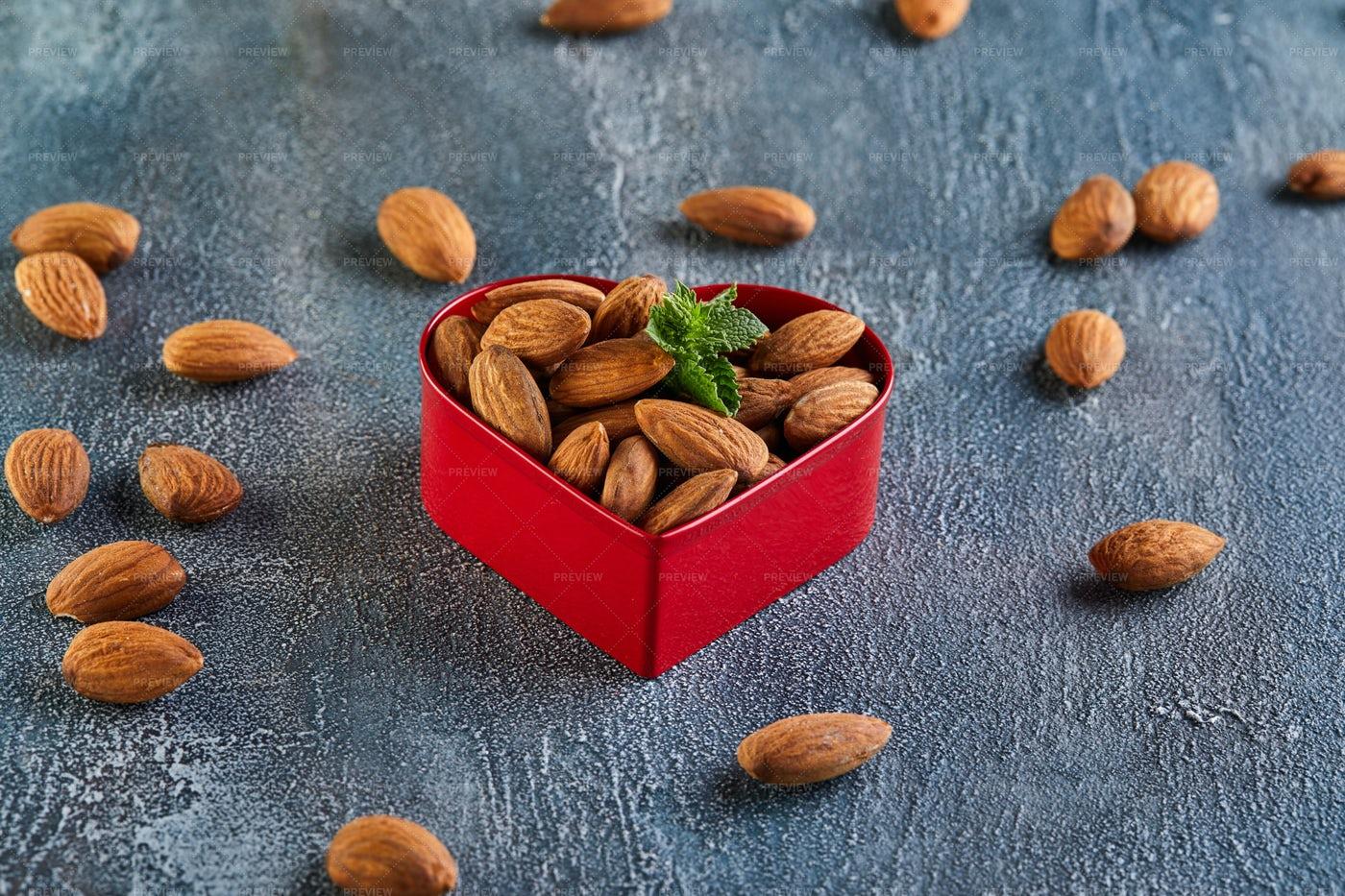 Almonds In Heart Tin: Stock Photos
